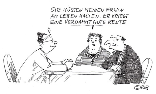 Cartoon: Mein Erwin (medium) by Christian BOB Born tagged leben,tod,rente,erwin,mann,frau,arzt,patient