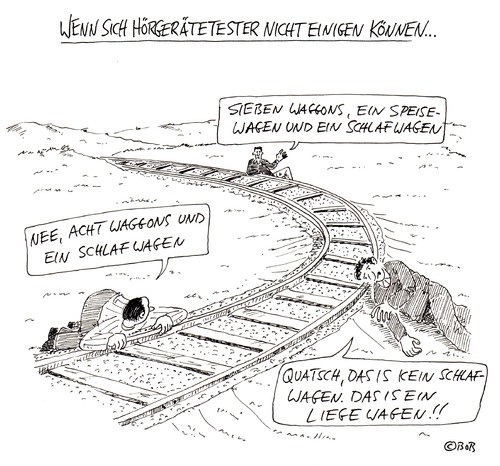 Cartoon: Uneins (medium) by Christian BOB Born tagged hören,hörgeräte,schienen,bahn,waggons,ohr,hörtest
