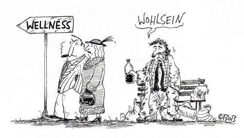 Cartoon: Wohlsein (medium) by Christian BOB Born tagged arm,reich,wellness,straße,,wellness,gesundheit,fitness,körper,geist,seele,entspannung,entspannen,penner,obdachlos,obdachloser,arm,armut,reich,reichtum,harzt,geld,existenz,luxus,gesellschaft