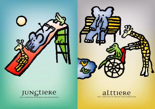 Cartoon: JungAlttiere (medium) by constable tagged alttier,jungtier,elefant,giraffe,krokodil,farbe,alt,jung,wachtmeister,2008