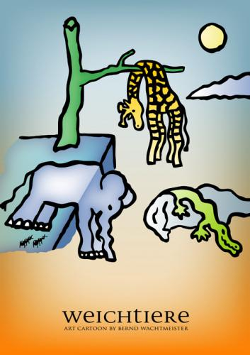 Cartoon: Weichtiere (medium) by constable tagged animal,humor,cartoon,fun,elephant,giraffe,crocodile,dali,wachtmeister