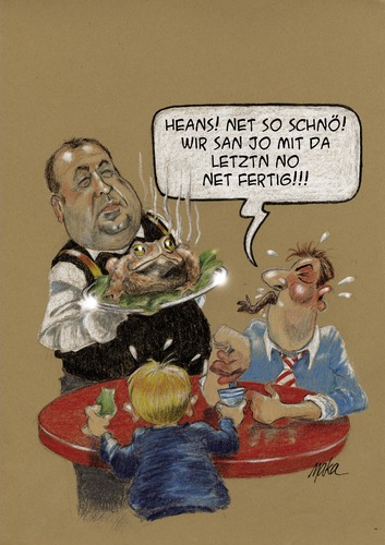 Cartoon: Very traditionell food - Austria (medium) by kama tagged finances,budget,eu,austria