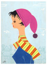 Cartoon: Woman With Scarf (small) by LAINO tagged woman,scarf