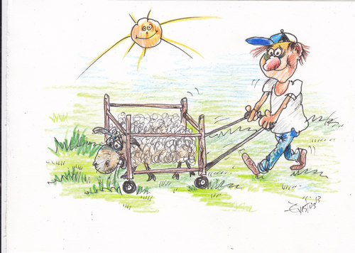 Cartoon: Eco System (medium) by Erki Evestus tagged farmer,sheep