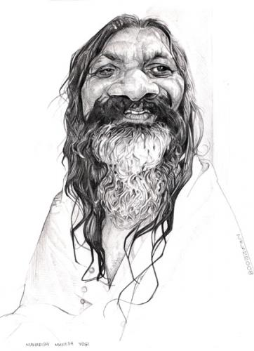 Cartoon: maharishi mahesh  yogi (medium) by salnavarro tagged caricature,pencil,maharishi