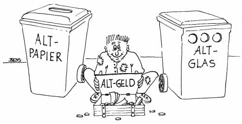 Cartoon: Alt- Geld (medium) by besscartoon tagged altglas,altpapier,altgeld,armut,mann,besscartoon,bess
