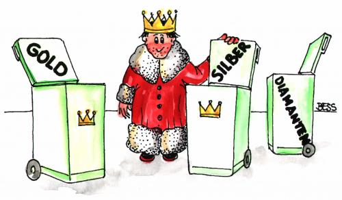 Cartoon: bei Königs (medium) by besscartoon tagged bess,könig,müll,mann,müllbeseitigung,armut,monarchie,diamanten,silber,gold,reichtum,besscartoon