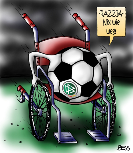 Cartoon: DFB Razzia (medium) by besscartoon tagged sport,steuer,razzia,dfb,zentrale,zwanziger,niersbach,steuerhinterziehungkorruption,schwarze,kasse,fifa,sommermaerchen,wm,weltmeisterschaft,2006,fussball,bess,besscartoon