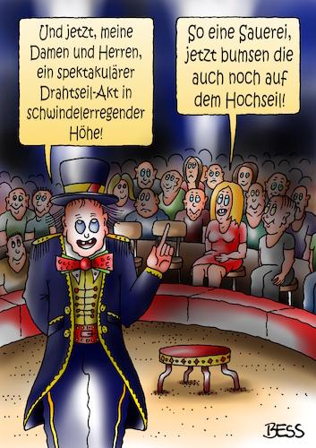 Drahtseil-Akt von besscartoon | Philosophie Cartoon | TOONPOOL