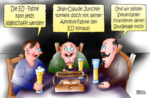 Cartoon: EU Alkoholiker (medium) by besscartoon tagged politik,eu,europa,jean,claude,juncker,saufen,alkohol,fahne,alkoholfahne,drogen,steuerzahler,geld,euro,stammtisch,saufgelage,bess,besscartoon