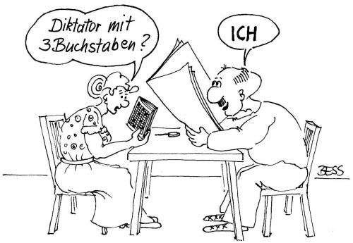 Cartoon: Familienglück (medium) by besscartoon tagged diktator,ich,beziehung,paar,frau,mann,lesen,bess,besscartoon