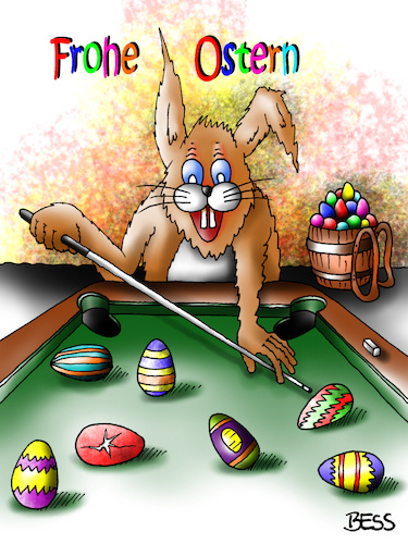 Cartoon: Frohe Ostern (medium) by besscartoon tagged ostern,religion,christentum,fest,auferstehung,hase,ostereier,billard,bess,besscartoon