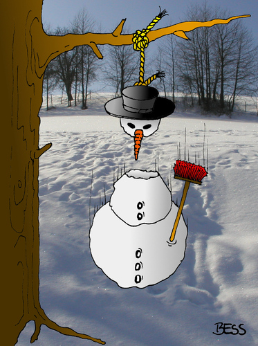Cartoon: Frühling naht (medium) by besscartoon tagged besscartoon,bess,baum,selbstmord,suizid,schneemann,winter