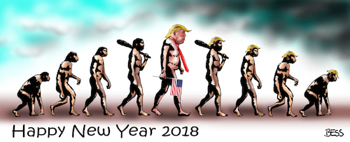 Cartoon: Happy New Year 2018 (medium) by besscartoon tagged happy,new,year,2018,donald,trump,amerika,usa,evolution,bess,besscartoon