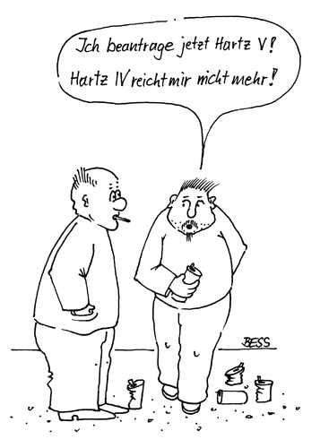Cartoon: Hartz 5 (medium) by besscartoon tagged männer,hartz4,arbeitslos,arge,hartz5,bess,besscartoon