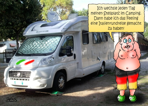 Cartoon: Italienrundreise (medium) by besscartoon tagged camping,urlaub,ferien,freizeit,wohnmobil,italienrundreise,italien,tourismus,bess,besscartoon