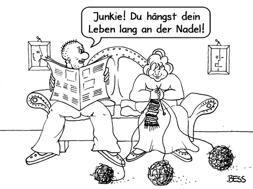 Cartoon: Junkie (medium) by besscartoon tagged junkie,mann,frau,paar,beziehung,nadel,ehe,stricken,mode,bess,besscartoon