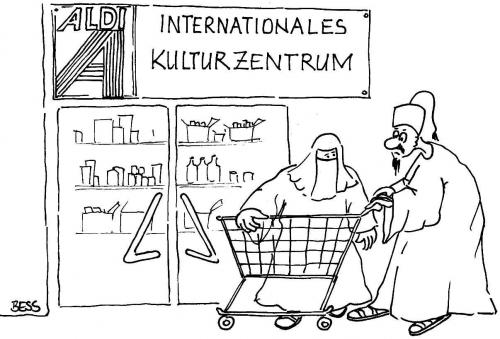 Cartoon: Kulturzentrum (medium) by besscartoon tagged supermarkt,kulturzentrum,einkauf,islam,bess,besscartoon