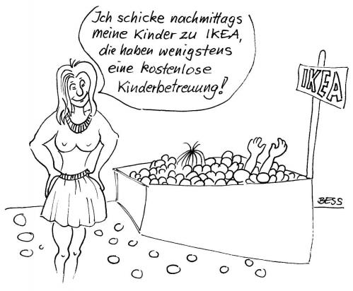 Cartoon: ohne Titel (medium) by besscartoon tagged besscartoon,bess,ikea,kinderbetreuung,kinder,frau