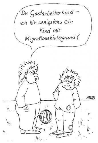 Cartoon: ohne Titel (medium) by besscartoon tagged kinder,migration,ausländer,neid,bess,besscartoon
