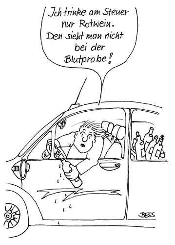 Cartoon: ohne Titel (medium) by besscartoon tagged alkohol,auto,wein,polizei,blutprobe,bess,besscartoon