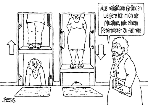 Cartoon: Paternoster (medium) by besscartoon tagged islam,koran,religion,paternoster,christentum,muslime,katholisch,kirche,bess,besscartoon