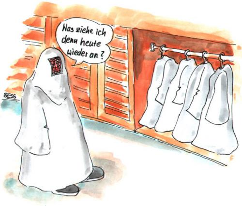 Cartoon: Qual der Wahl (medium) by besscartoon tagged besscartoon,bess,burka,islam,kleidung,frau
