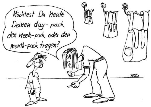 Cartoon: Qual der Wahl (medium) by besscartoon tagged erziehung,rucksack,bag,frau,kind,besscartoon,bess