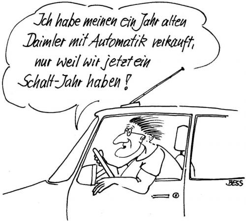 Cartoon: Schalt-Jahr (medium) by besscartoon tagged auto,technik,mann,schaltjahr,bess,besscartoon