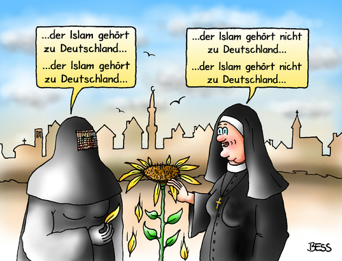 Cartoon: Schwarz-Seher (medium) by besscartoon tagged religion,islam,burka,nonne,migration,integration,christentum,deutschland,bess,besscartoon