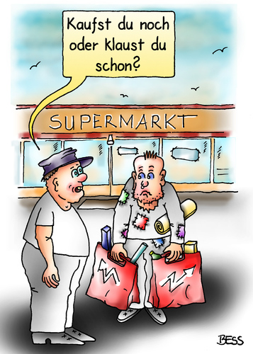 Cartoon: Überlebensfrage (medium) by besscartoon tagged supermarkt,kaufen,konsum,klauen,diebstahl,armut,männer,bess,besscartoon
