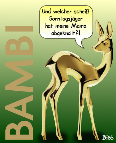 Cartoon: Waidmannsheil (medium) by besscartoon tagged tiere,bambi,reh,mutter,mama,kind,abgeknallt,gewalt,jäger,sonntagsjäger,jagd,bess,besscartoon