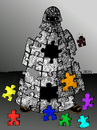 Cartoon: Auflösungserscheinungen (small) by besscartoon tagged burka,islam,puzzle,freiheit,mode,bess,besscartoon