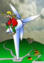 Cartoon: Überflieger (small) by besscartoon tagged fliegen,windrad,energie,strom,bess,besscartoon