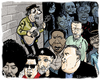 Cartoon: Busker Nightmare (small) by Dunlap-Shohl tagged richard,thompson,muddy,waters,sister,rosetta,tharpe,cesar,rosas,david,hidalgo,jimi,hendrix,gatemouth,brown