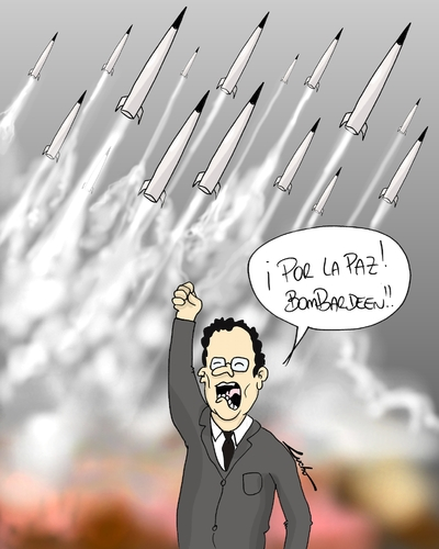 Cartoon: En nombre de la paz? (medium) by lucholuna tagged francia,attack,siria