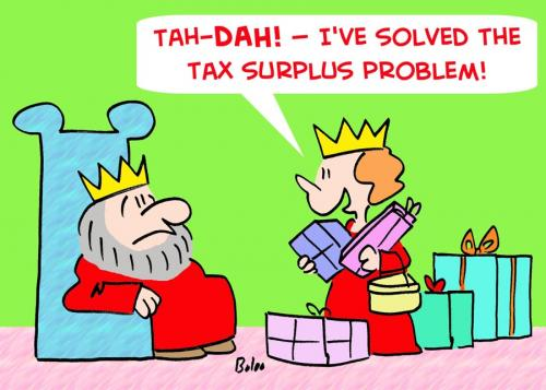 Cartoon: KING QUEEN TAX SURPLUS PROBLEM (medium) by rmay tagged king,queen,tax,surplus,problem