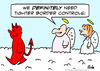 Cartoon: angels devil border controls (small) by rmay tagged angels,devil,border,controls,heaven,immigration