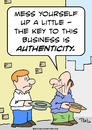 Cartoon: business authenticity panhandler (small) by rmay tagged business authenticity panhandler