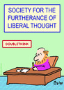 Cartoon: doublethink liberal thought (small) by rmay tagged doublethink,liberal,thought